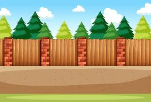 Many pine trees with blank fence for background scene vector