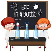 Joven científico explicando el experimento científico con prueba de flotación de huevos vector