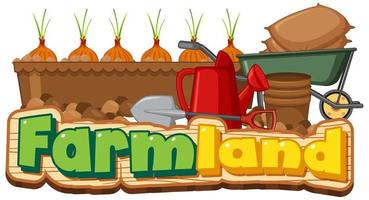 Farmland logo or banner with gardening tools isolated on white background vector