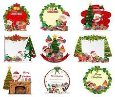 Conjunto de postal de Navidad en blanco y escenas aisladas