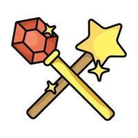 wand magic sorcery isolated icon vector