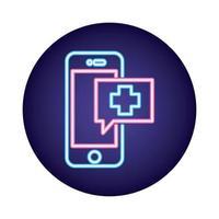 teléfono inteligente con aplicación de telemedicina estilo neón