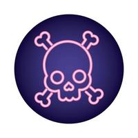 skull and bones crossed neon style icon vector