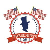 President Day Seal Stamp With Flags and Gentleman Silhouette Vector Illustration Design