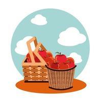 manzanas de otoño en cestas de mimbre vector