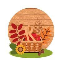 manzanas de otoño en cesta de mimbre