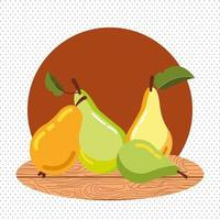 autumn pears with wooden background