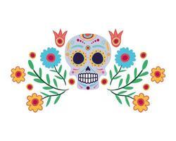 Máscara de calavera con icono de cabeza de decoración floral