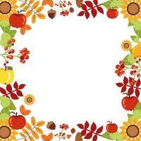 marco con decoraciones de otoño