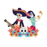 catrina and mariachi skulls playing maracas and guitar