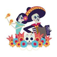 catrina and mariachi playing accordion couple characters vector