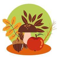 manzanas y setas de otoño vector