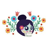 catrina skull with floral decoration comic character vector