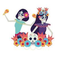 Mexican catrina skulls playing maracas comic characters vector illustration design
