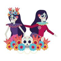 Mexican catrina skulls dancing characters vector