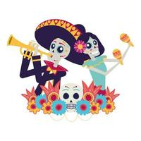 catrina and mariachi playing trumpet characters vector