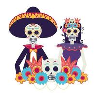 catrina and mariachi couple characters vector