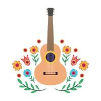 guitar musical instrument with floral decoration