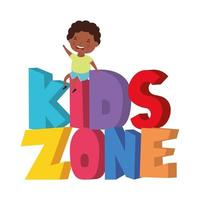 cute little African boy with kids zone words