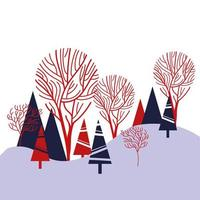 pines trees forest winter scene vector