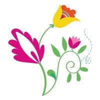 hermosas flores jardín iconos decorativos