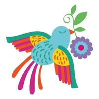 cute bird flying with flower Mexican decoration vector