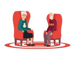 cute grandparents seated in chairs