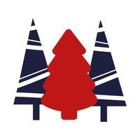Christmas pine trees decorative icons