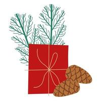 gift box present with seeds and branches