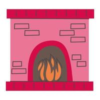 merry Christmas fireplace icon vector