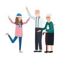 grandparents with granddaughter in Christmas hat vector