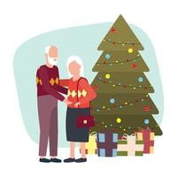 cute grandparents with Christmas tree
