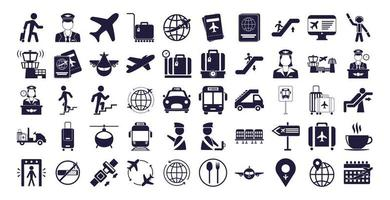 bundle of airport set icons vector