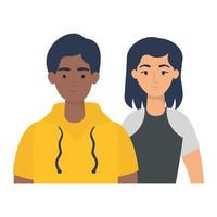 young interracial couple avatars characters vector