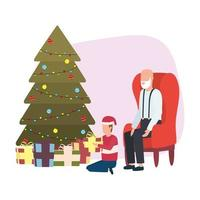 cute grandfather and grandson with Christmas tree