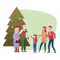 cute family members with Christmas tree