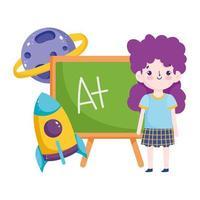 back to school, student girl chalkboard rocket planet elementary education cartoon vector