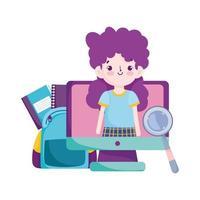 regreso a la escuela, lupa de bolsa de clase en línea de niña estudiante y libros dibujos animados de educación primaria vector