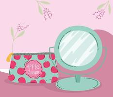 makeup cosmetics product fashion beauty cosmetic bag and mirror cartoon vector