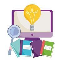 regreso a la escuela, clase, computadora, libros en línea, educación elemental vector