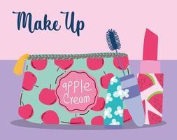 makeup cosmetics product fashion beauty cosmetic bag lipstick and mascara vector