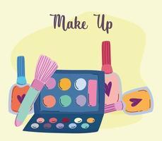 maquillaje cosméticos producto moda belleza sombra de ojos paleta cepillo esmalte de uñas dibujos animados vector