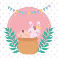 baby shower, little boy and rabbit in basket, celebration welcome newborn