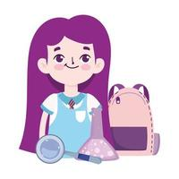 back to school, student girl bag chemistry flask and magnifier elementary education cartoon vector
