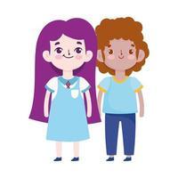 back to school, student boy and girl uniform cartoon elementary education vector