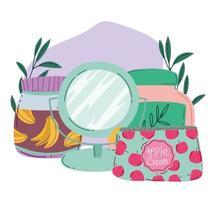 maquillaje cosméticos producto moda belleza bolsa de cosméticos espejo y loción para el cuidado de la piel envases vector