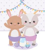 baby shower, cute rabbit goat with pacifier rattle and bottle milk, celebration welcome newborn vector