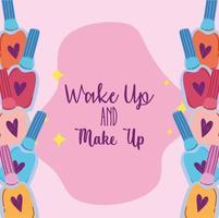 Despertar y maquillaje colección de productos cosméticos esmaltes de uñas vector