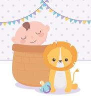 baby shower, little boy in basket and cute lion with pacifier, celebration welcome newborn