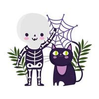 happy halloween, boy skeleton costume cat and cobweb cartoon, trick or treat party celebration vector